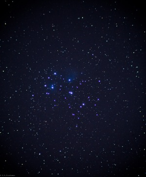 Photo by G.R.Sivakumar -M-45- Pleiades cluster (Seven Sisters) 5 min exposure on a Canon 5D M-II mounted on a 80mm refractor telescope.