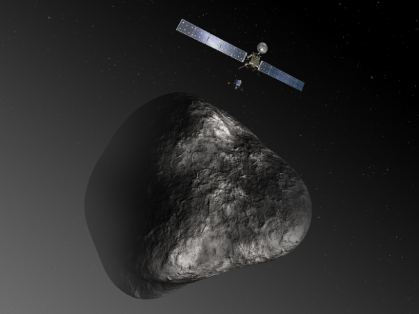 Rosetta orbiter deploying the Philae lander to comet 67P/Churyumov–Gerasimenko: Artists Impression