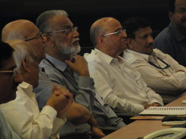 ISRO Chairman Dr.K.Radhakrishnan with Former Chairmen Prof.U.R.Rao and Dr. K.Kasturirangan watching the LAM test firing operation from the Space control centre.